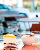 Cup of coffee. Outdoor Cafe — Stock Photo