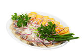 Herring with potatoes and vegetable — Stock Photo