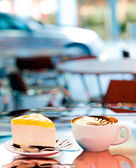 Cup of coffee. Outdoor Cafe. — Stock Photo