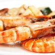 Grill shrimp with vegetables — Stock Photo