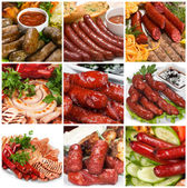 Grilled sausage collage — Stock Photo