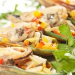 Edible mussels with spicery — Stock Photo