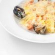 Pasta with cheese and seafood — Stock Photo
