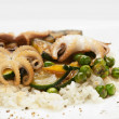 Rice with octopus and vegetables — Stock Photo