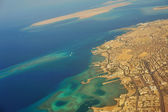 Hurgada view from the plane — Stock Photo