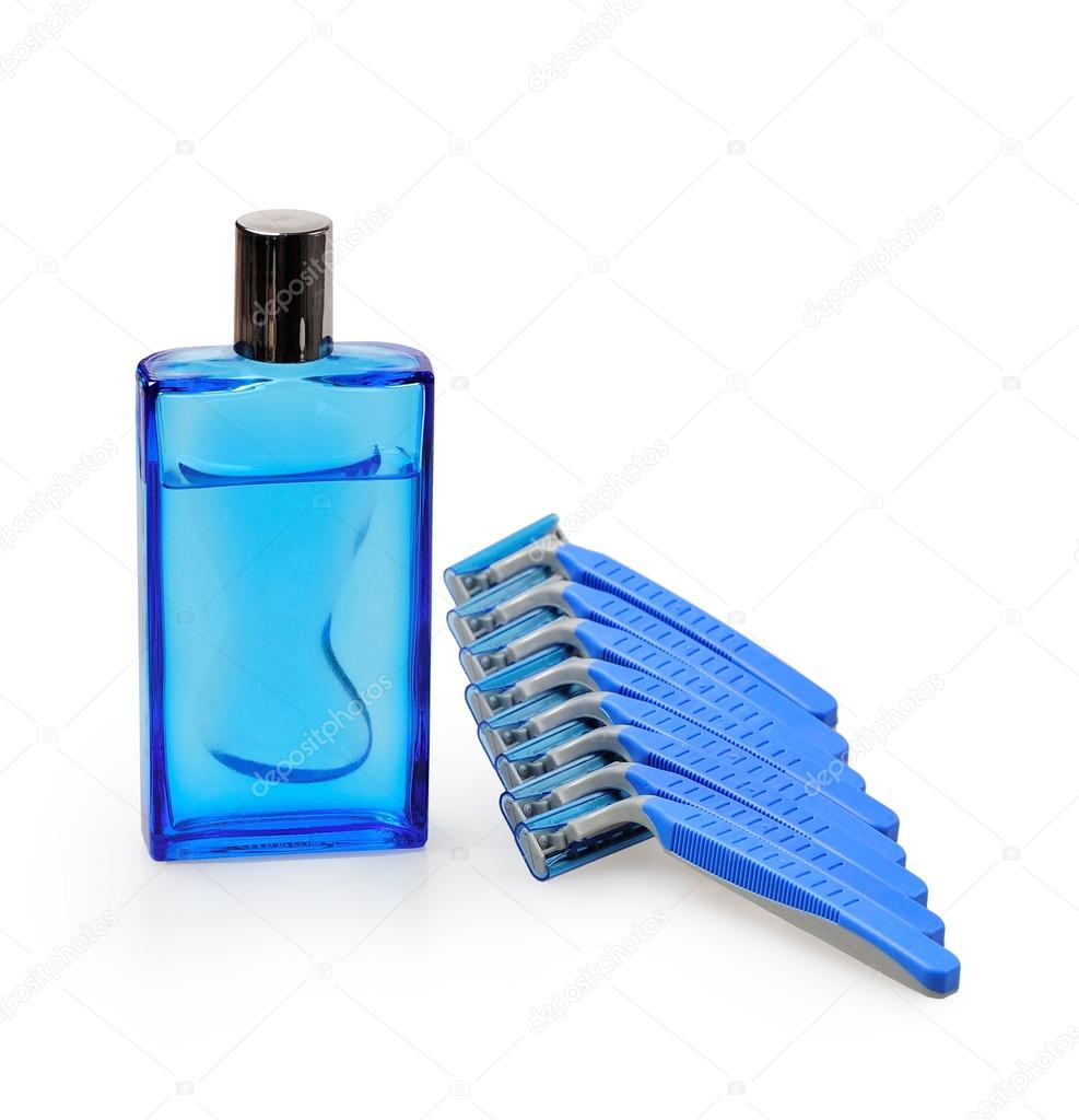Blue disposable razors with after shave, isolated on a white background — Stock Photo #12852387