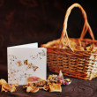 Basket and petals — Stock Photo