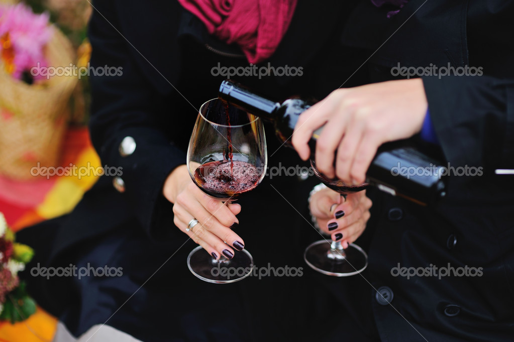 Couple drinking red  wine outside on a picnic — Stok fotoğraf #14760353