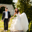 Groom and bride walking  — Stock Photo