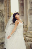 Portrait of Young Bride Wearing Wedding Dress — Stock Photo