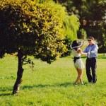 Heterosexual Couple walking in park — Stock Photo