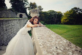 Gorgeous bride outdoors posing — Stock Photo