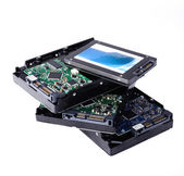 SSD vs HDD, new and old technology — Stock Photo