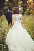 Coppia di sposi, sposo e sposa — Foto Stock