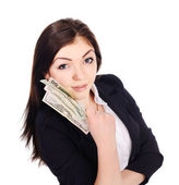 Portrait of pretty young female with cash in hand — Stockfoto