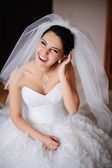 Portrait of a Gorgeous bride bursts of laughing — Stock Photo