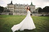 Brunette bride posing against castle in west Ukraine — Stock Photo