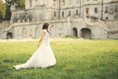 Gorgeous young bride walking next to castle in west Ukraine — Stock Photo