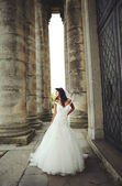 Portrait of Young Bride near castle — Stock Photo
