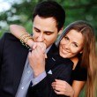 Sweet couple outside portrait — Foto Stock #25491573