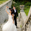 Foto Stock: Young wedding couple next to castle