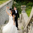 Stock fotografie: Young wedding couple next to castle