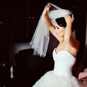 Gorgeous brunette bride is getting dressed — Stock Photo