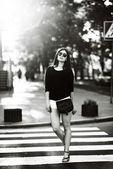 Fashion girl outside — Stock Photo