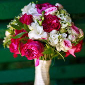 Bouquet made of peony and freesia — Photo