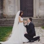 Wedding couple outside — Stock Photo