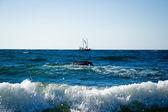 One small white yachts sailing — Stock Photo