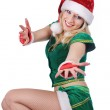 Young sexy blond girl wearing santa claus clothes — Stock Photo #32718265