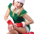 Girl wearing santa claus clothes — Stock Photo
