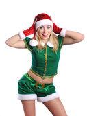 穿上圣诞老人衣服的女孩 — 图库照片