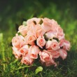 Wedding bouquet of pink roses. — Stock fotografie