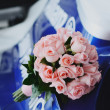 Wedding bouquet of pink roses. — Stock Photo