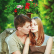 Happy teen couple embracing. — Stock Photo