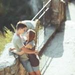 Sweet teen couple embracing at street. — Stock Photo #33717757