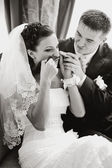Wedding couple in restaurant having fun — Stock Photo