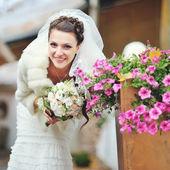 Happy caucasian bride. — Stock Photo