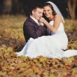 Happy young wedding couple in autumn forest. — Foto Stock