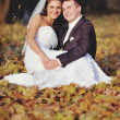Wedding couple enjoing in autumn forest. — Foto Stock