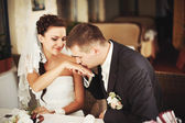 Groom kissing hand of his lovely bride — Stock Photo