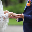 Groom and bride together on wedding day — Stockfoto