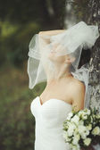 Beautiful bride playing with veil. — Stok fotoğraf