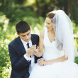 Foto de Stock  : Newlywed couple together.