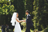 Young wedding couple walking in park. — Stock Photo