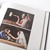 Wedding photo book of groom and bride — Stock Photo