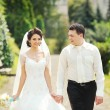 Stock Photo: Happy wedding couple walking together