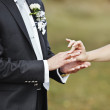 Stock Photo: Hands of wedding couple putting golden rings